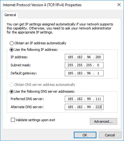 skonfigurowany adres ip karty sieciowej