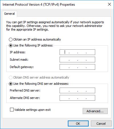 konfiguracja adresu ip karty sieciowej