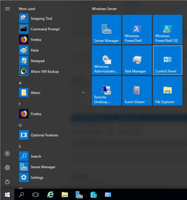 menu start windows serwer