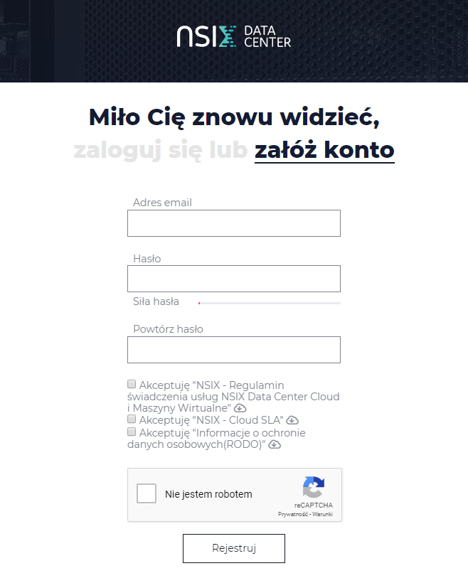 Ekran rejestracji