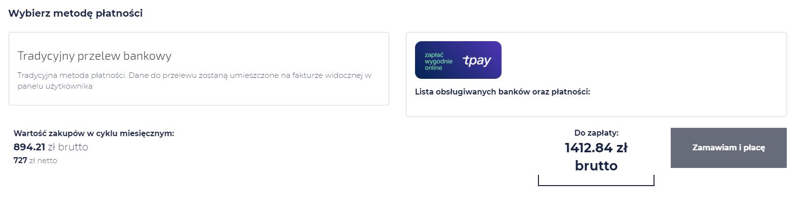 ekran wyboru płatności
