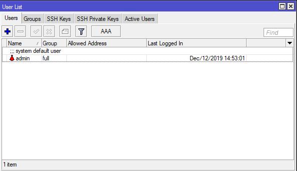 lista użytkowników w RouterOS