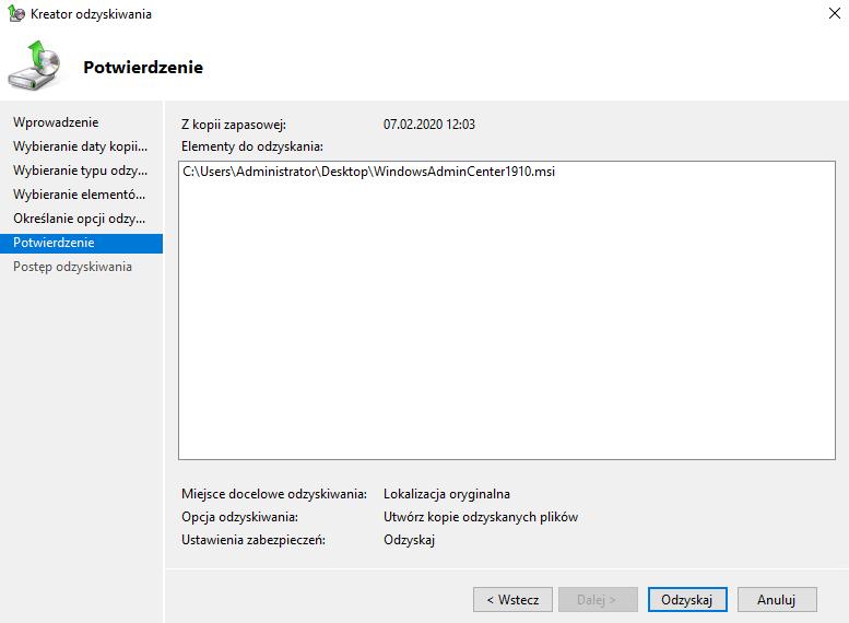 odzyskiwanie windows server