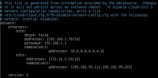 konfiguracja dwóch interfejsów