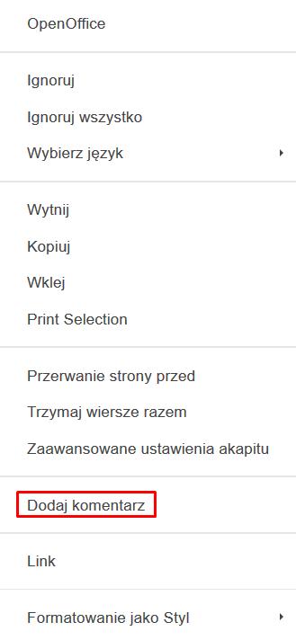 menu podręczne