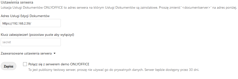 Ustawienia serwera