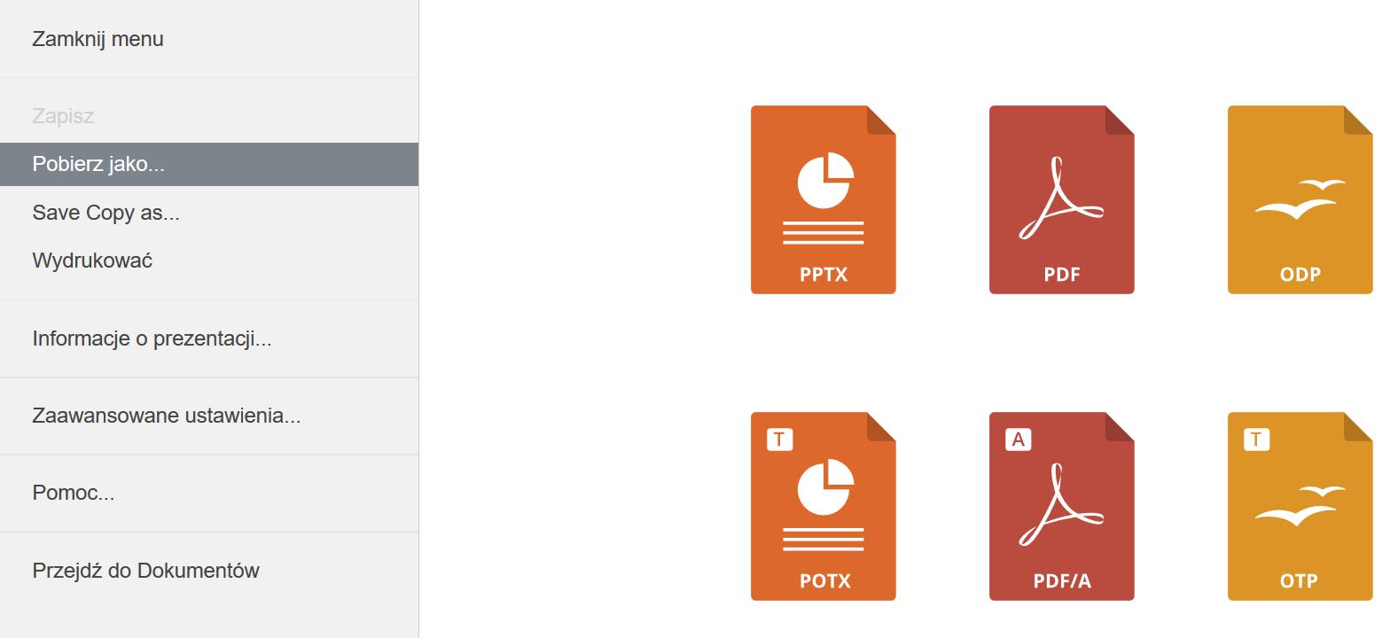 zakładka plik edytor prezentacji